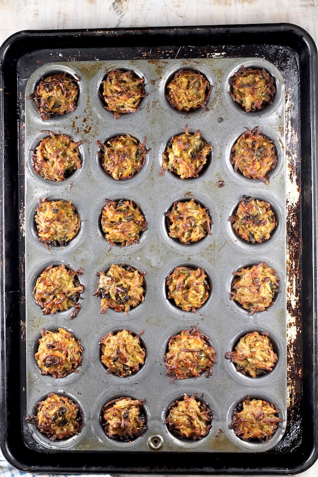 Spicy Hash Browns baked in a mini muffin tin