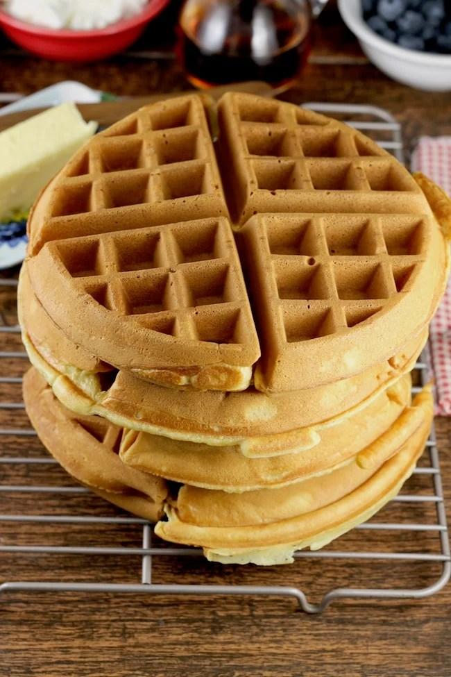 Stack of Easy Belgian Waffles