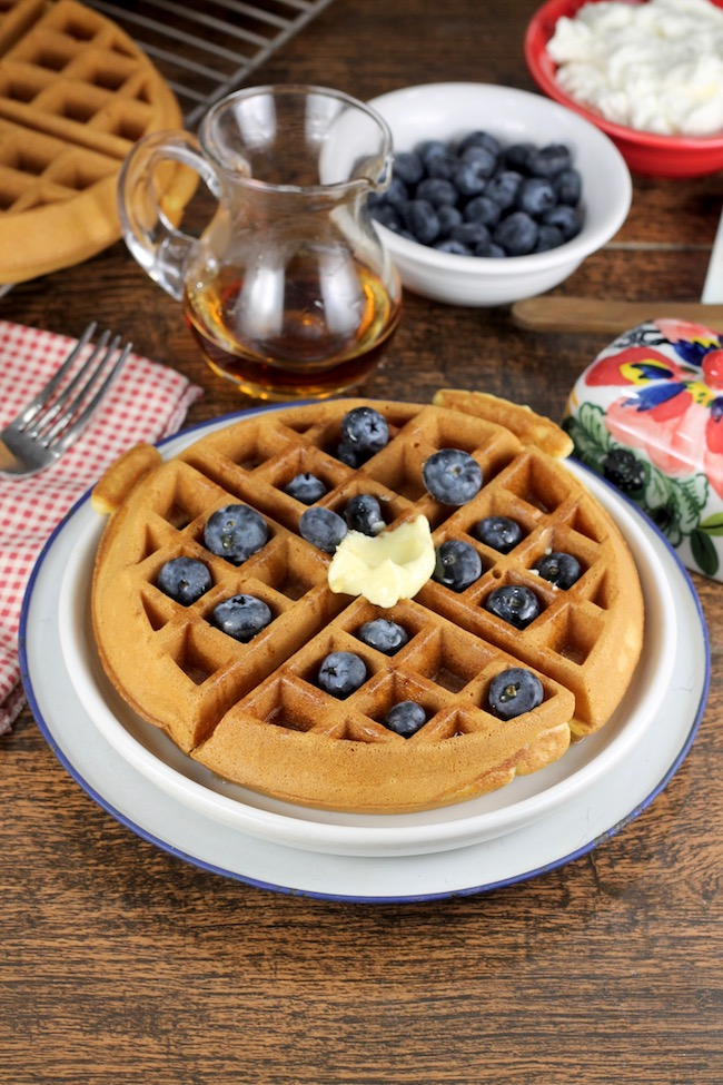 Easy Belgian Waffles with fresh berries