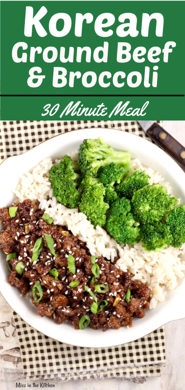 Easy Korean Ground Beef and Broccoli served with rice
