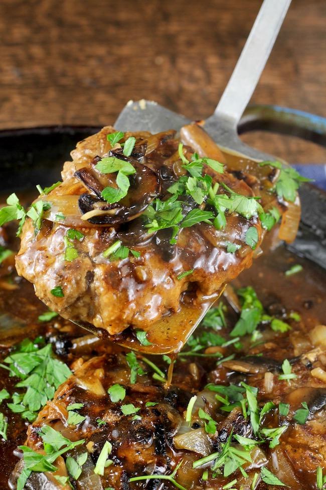 Homemade Salisbury Steak with Onion Gravy and Mushrooms
