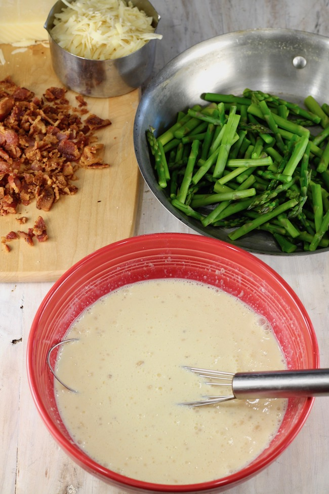 How to Make Quiche ~ eggs and cream, asparagus, cooked and crumbled bacon and Gruyere cheese