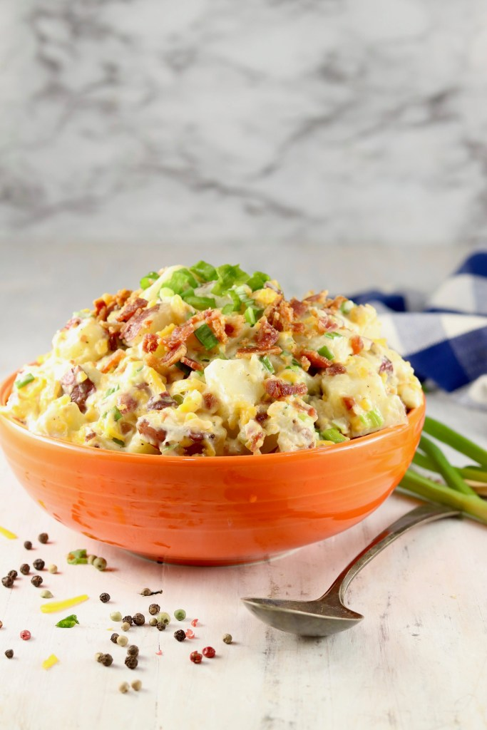 Bacon Ranch Potato Salad in orange bowl