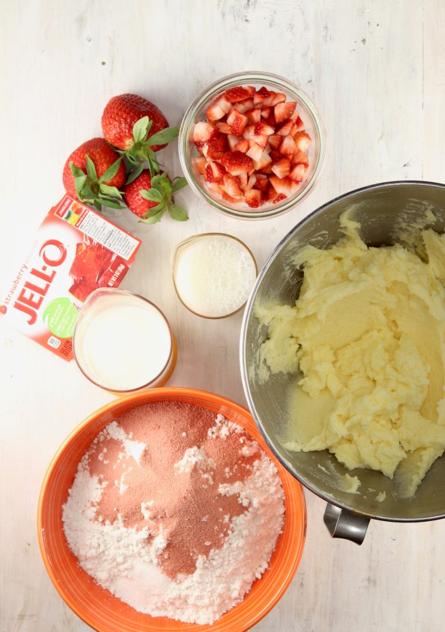 Ingredients for fresh strawberry cake
