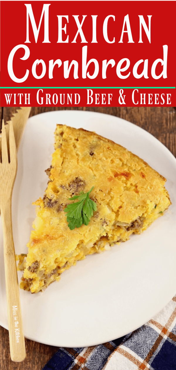 Mexican Cornbread Slice with jalapenos and ground beef