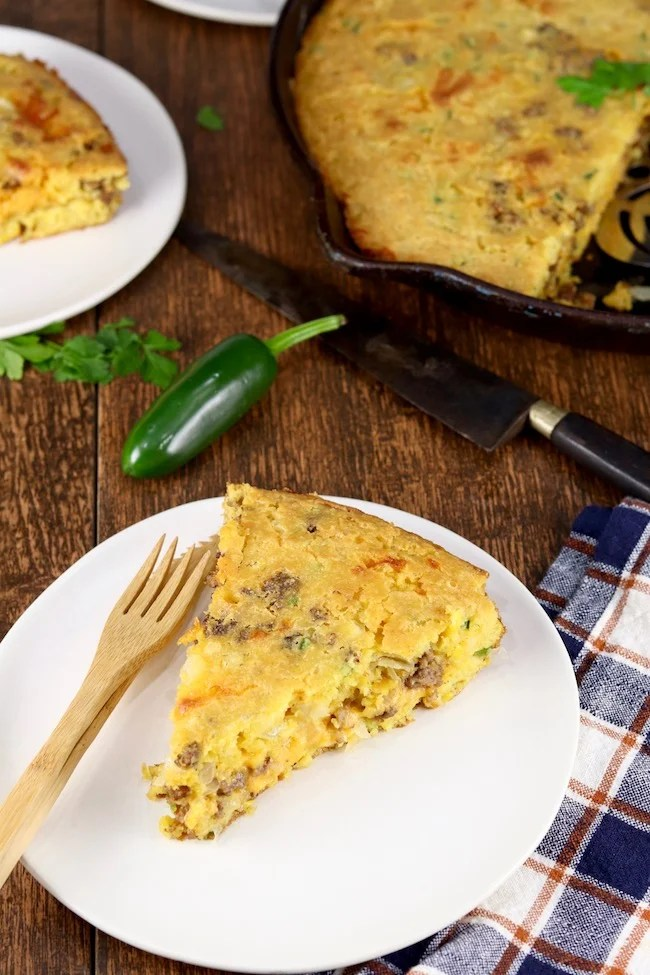 Mexican Cornbread with jalapenos and ground beef