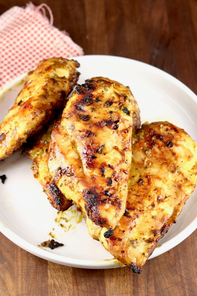 Mustard BBQ Chicken Grilled on plate