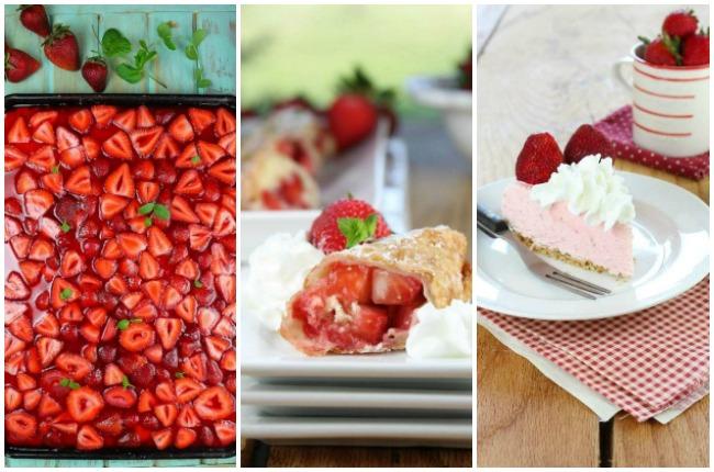 Strawberry pie, Strawberry Shortcake Egg Rolls, and Strawberry Cheesecake Ice Cream Pie