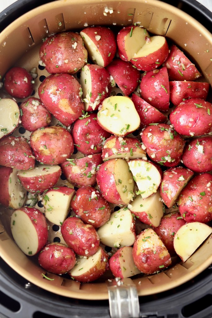 Air Fryer Basket of baby red potatoes