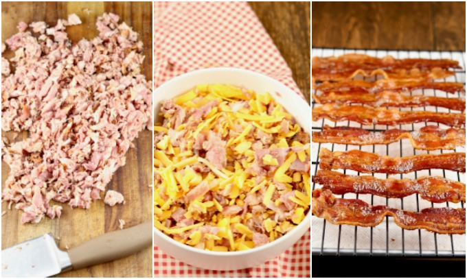 Ham diced, Ham and Cheese in a bowl, Bacon