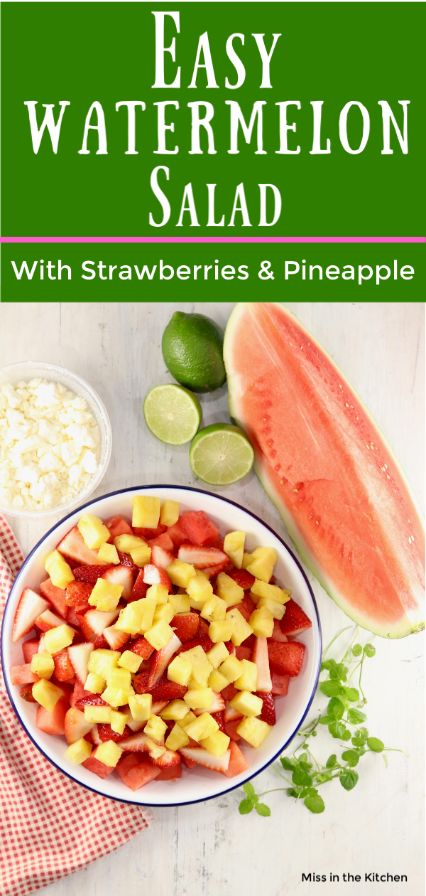 Watermelon, pineapple and strawberry fruit salad with lime dressing