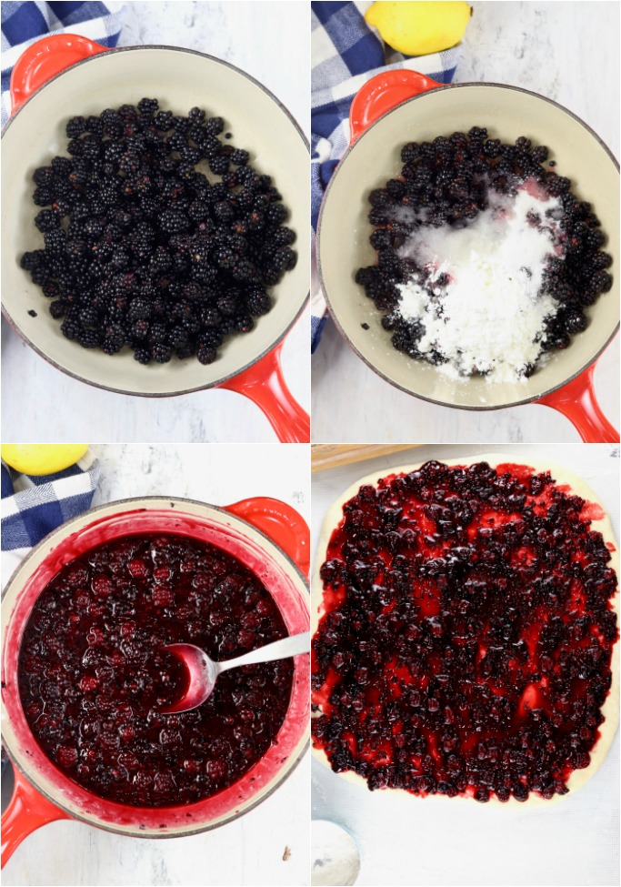 Photo collage of blackberries in a pan, blackberries with sugar, pan of prepared filling and filling spread onto sweet roll dough