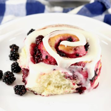 Blackberry Sweet Rolls on a white plate