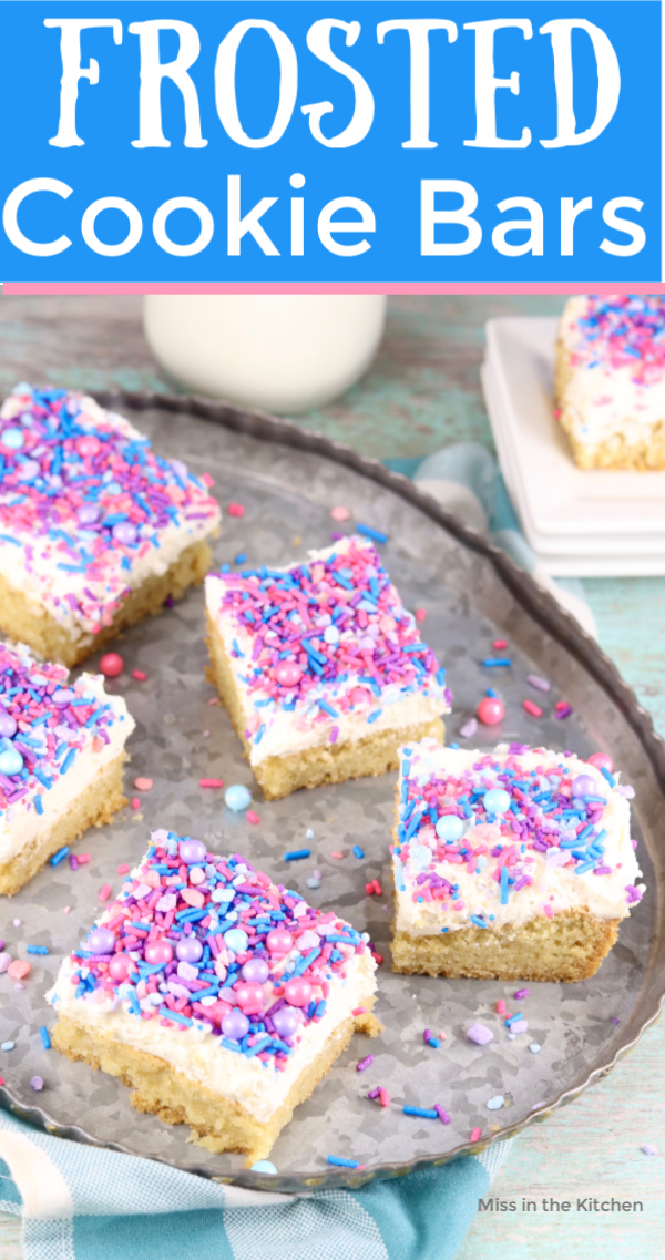 Frosted Cookie Bars with text overlay