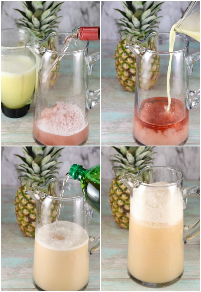 How to Make Pina Colada Wine Punch collage