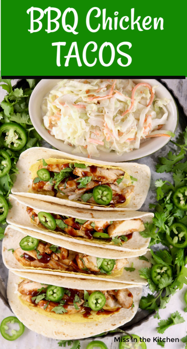 Tacos with barbecue chicken and slaw