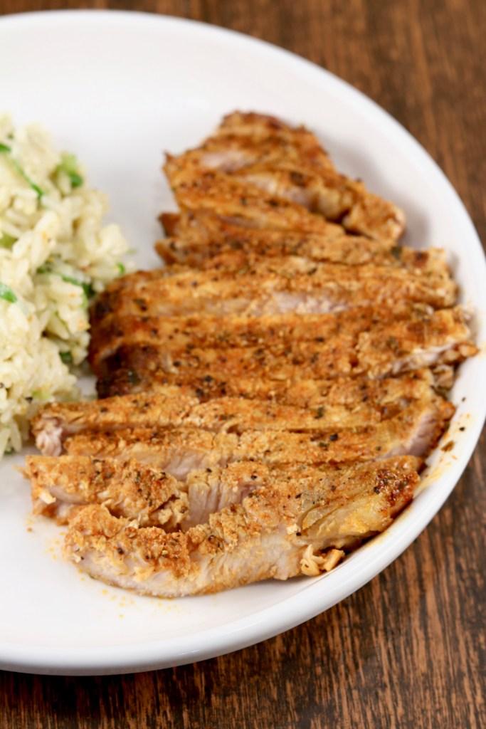 Plated Grilled Blackened Pork Chop