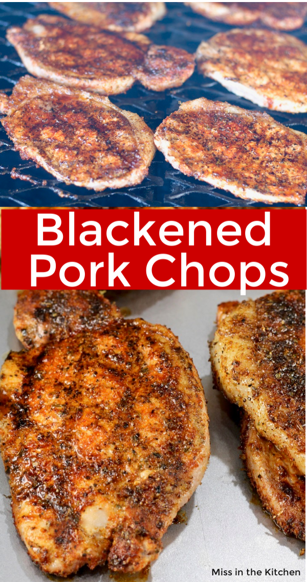 Blackened pork chops on the grill and on a sheet pan - collage with text overlay