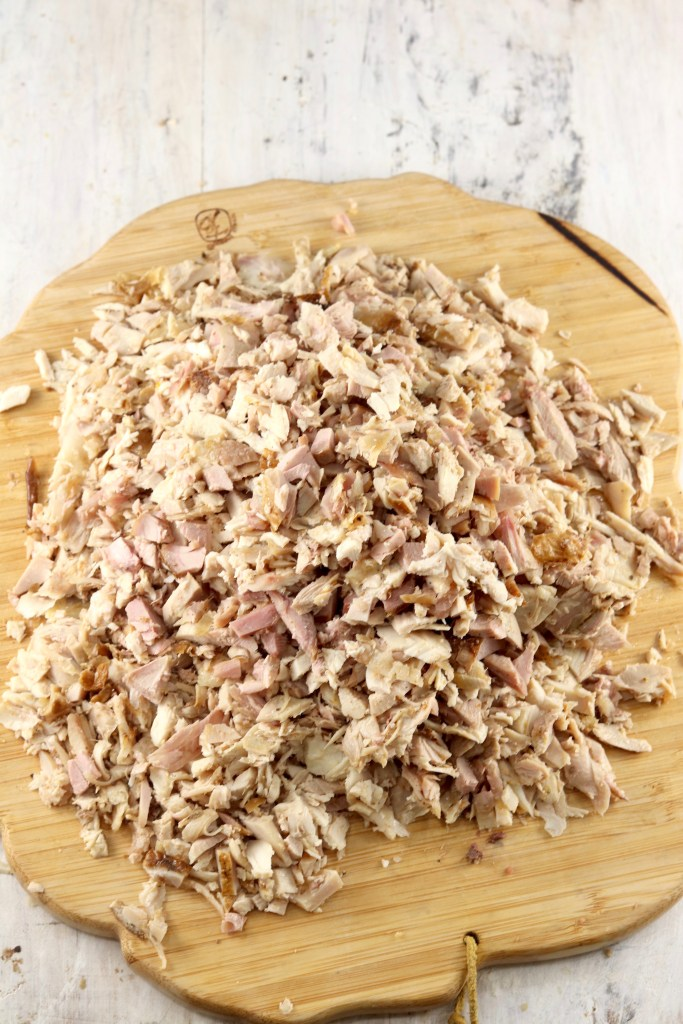 Diced smoked turkey on a wood board