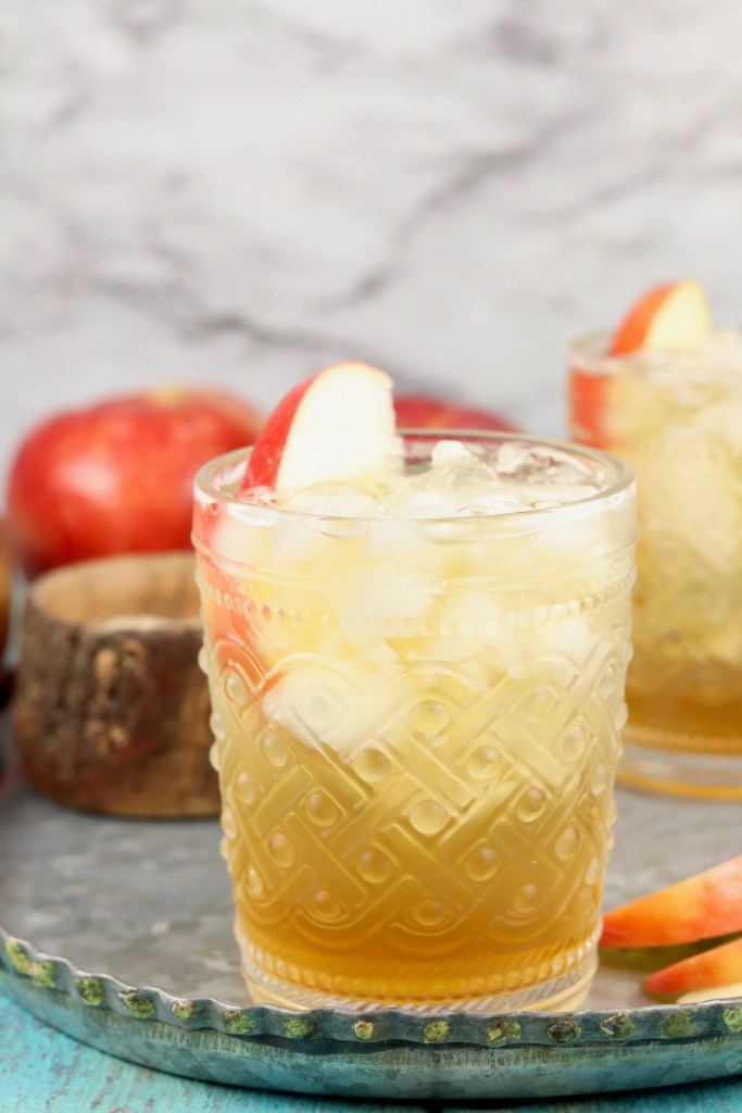 Apple Cider Shandy Cocktail with apple garnish