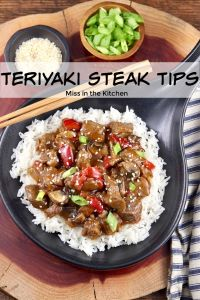 Teriyaki Steak Tips with mushrooms