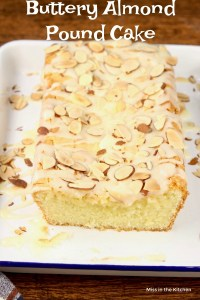Buttery Almond Pound Cake with glaze