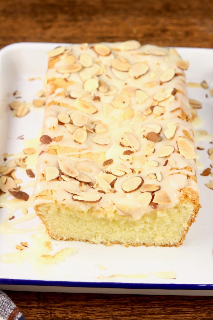 Almond Pound Cake loaf with toasted almonds