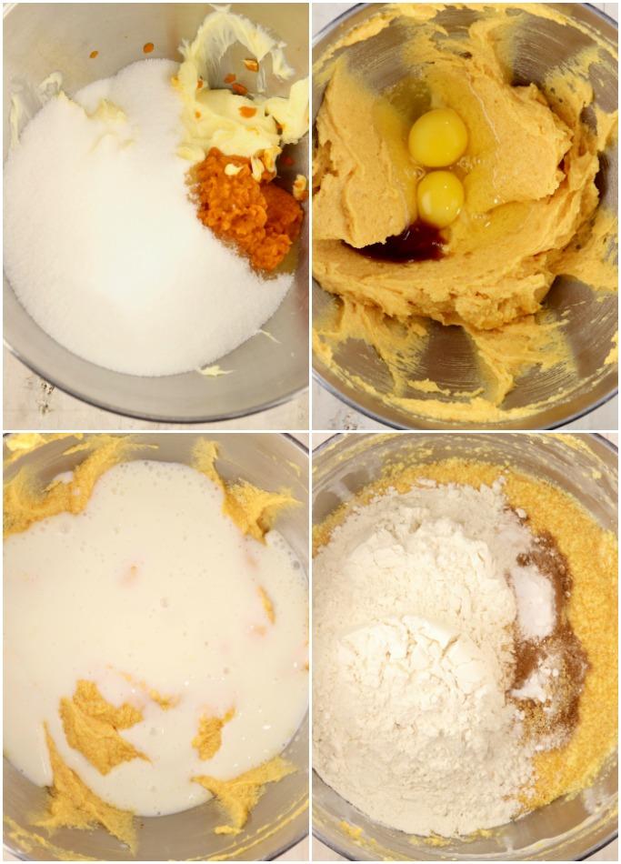 Step by step photos of pumpkin cake batter