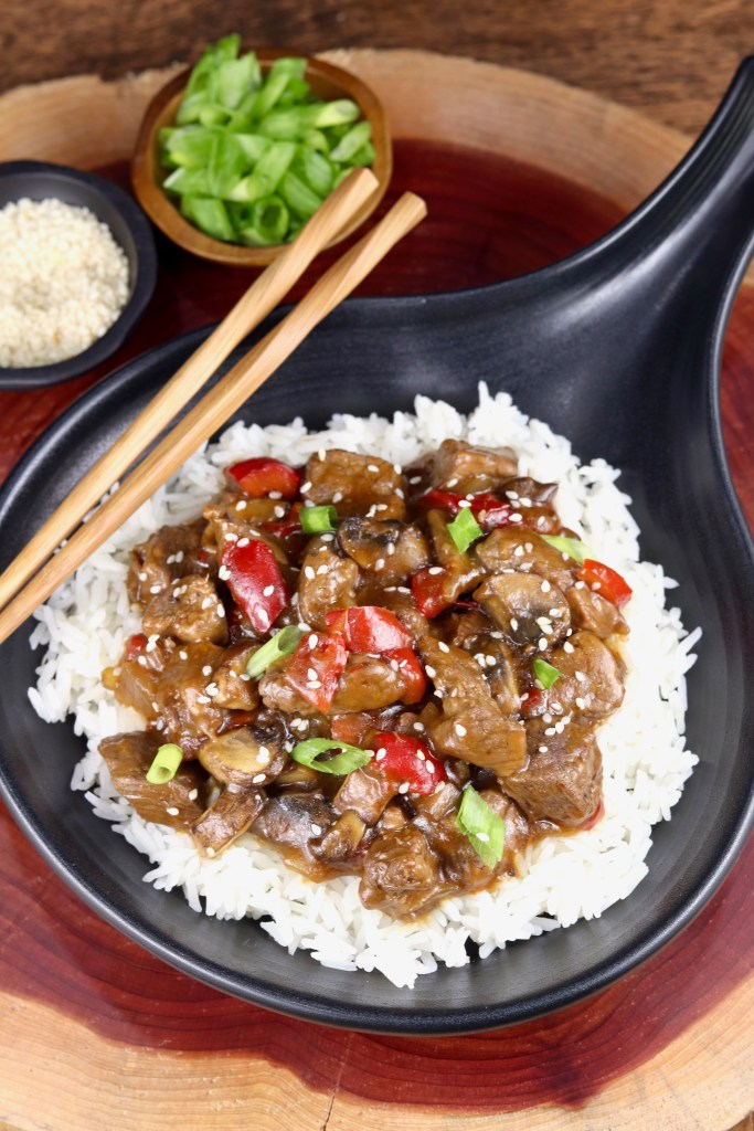 Slow Cooker Teriyaki Beef served over rice