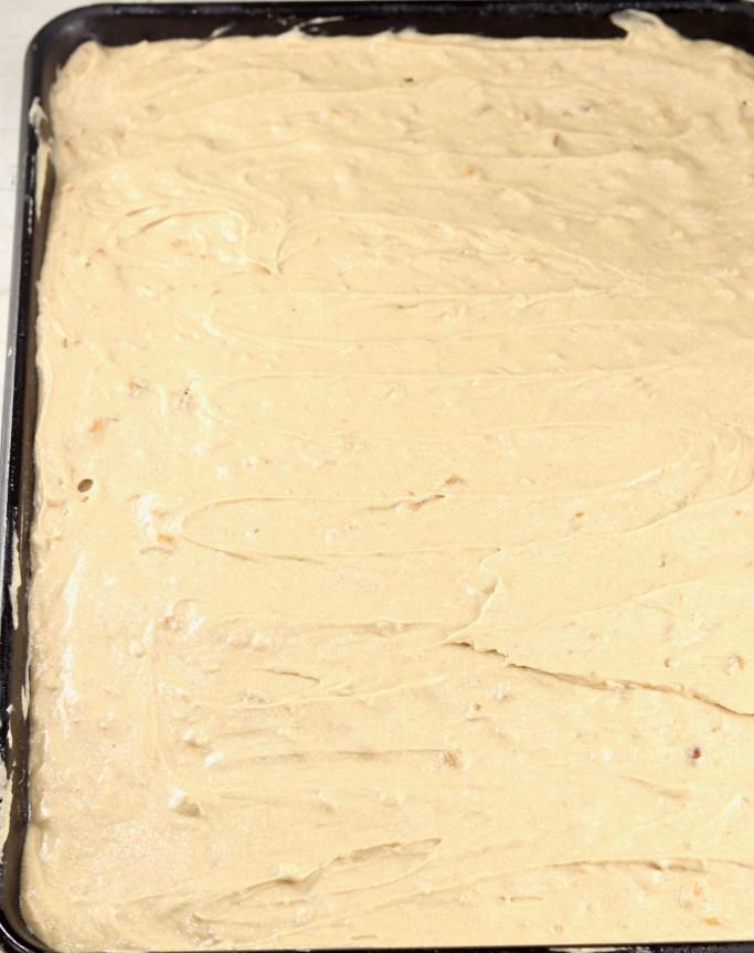 Butter Pecan Cake in sheet pan