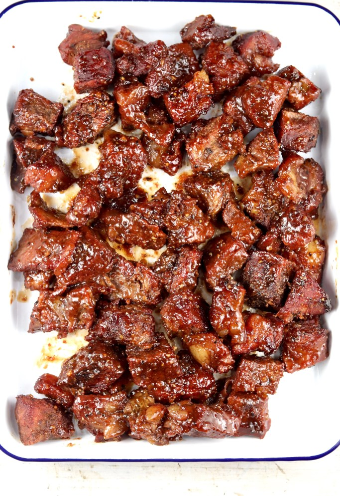 Platter of Poor Man's Burnt Ends Barbecue
