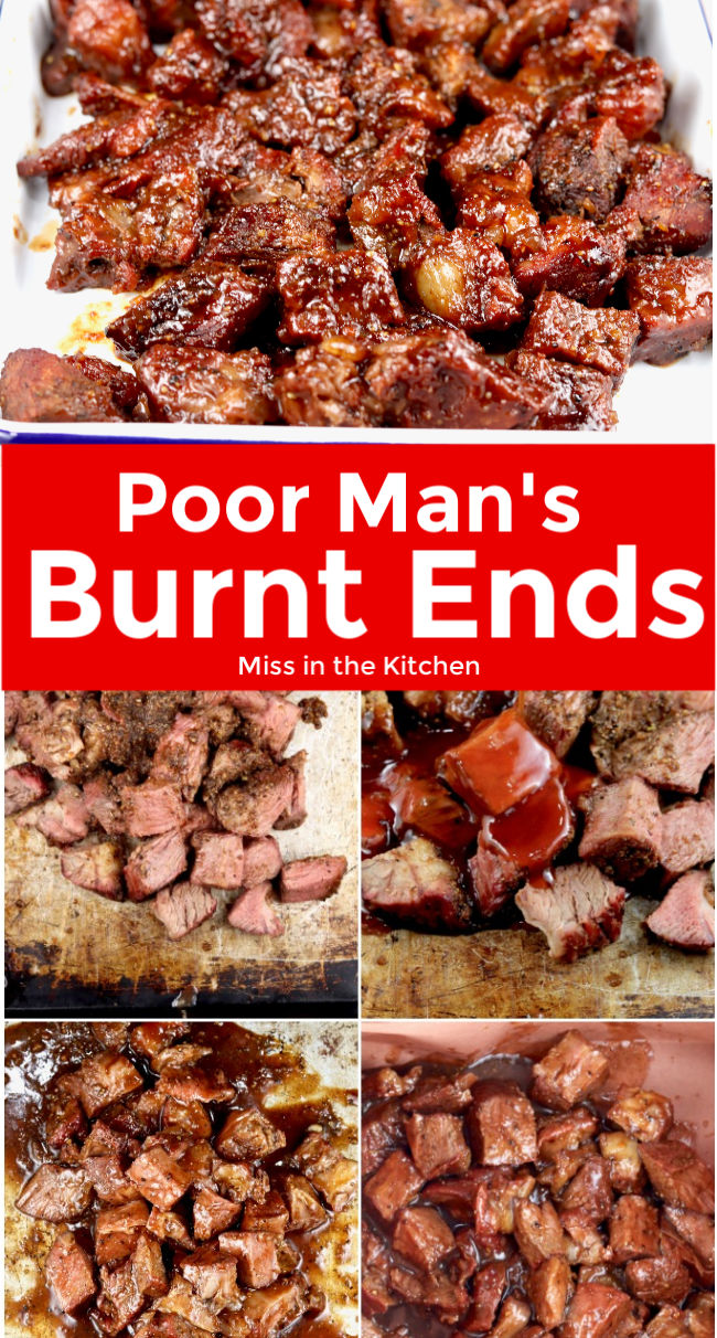 Poor Mans Burnt Ends collage with text overlay
