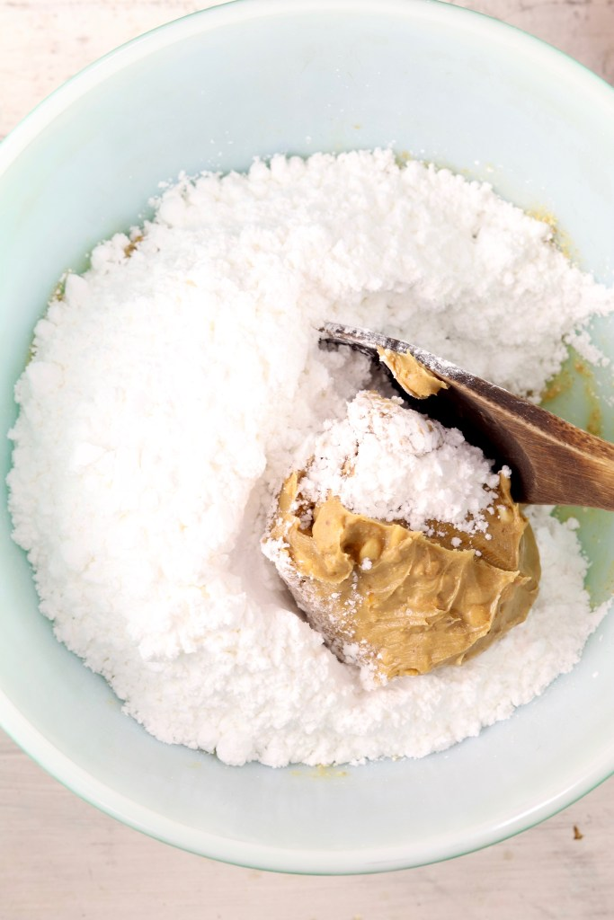 Powdered Sugar & Peanut Butter in a bowl