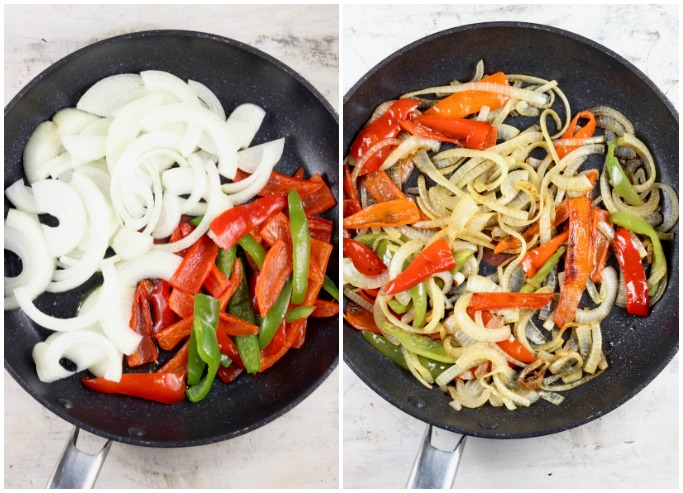 Sauteed Onions and Peppers collage - raw in the skillet, cooked
