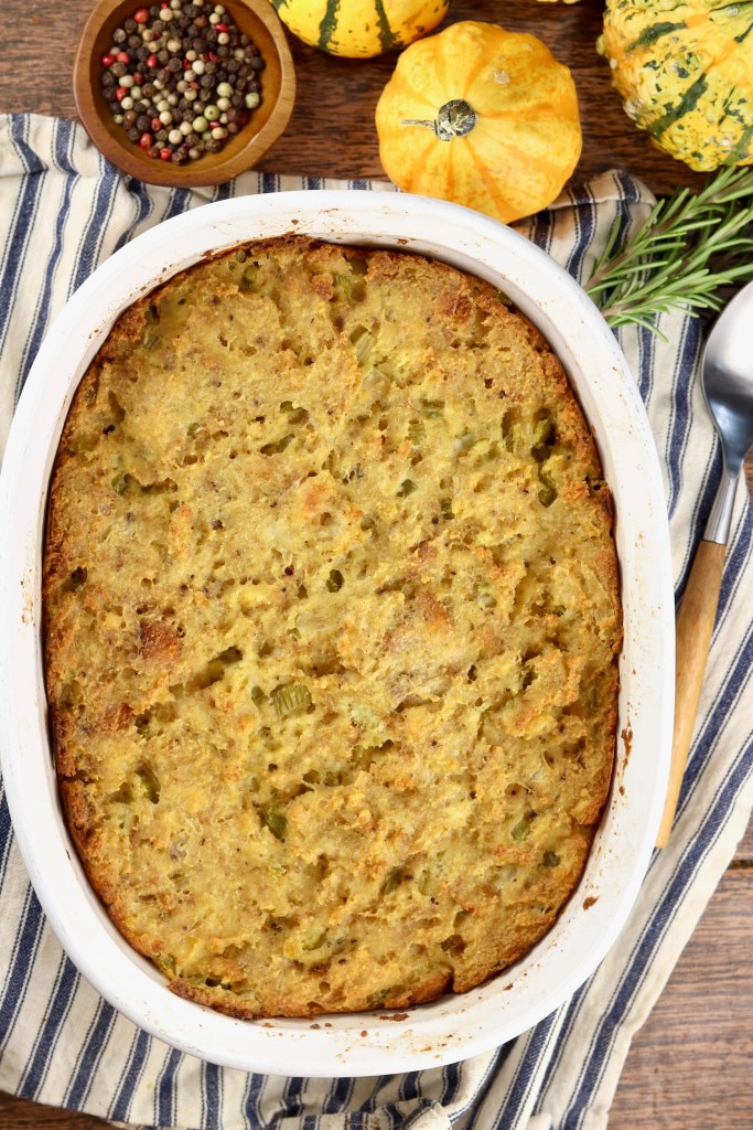 Southern Cornbread Dressing in an oval casserole dish
