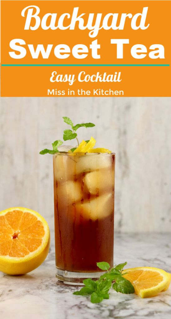 Sweet tea cocktail with text overlay