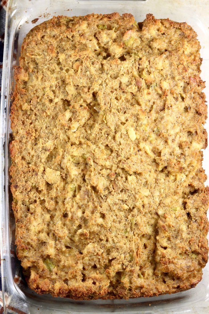 Chicken and dressing Thanksgiving casserole in a baking dish