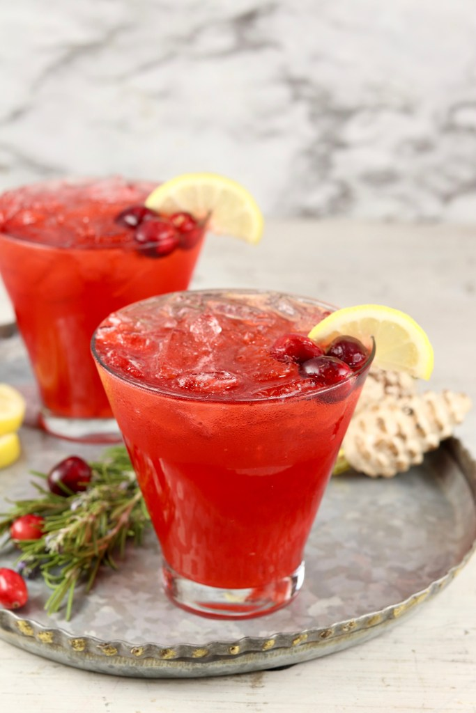 Cranberry Vodka Cocktail with lemon and cranberry garnish