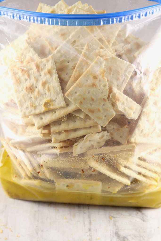 Saltine crackers with olive oil in a baggie