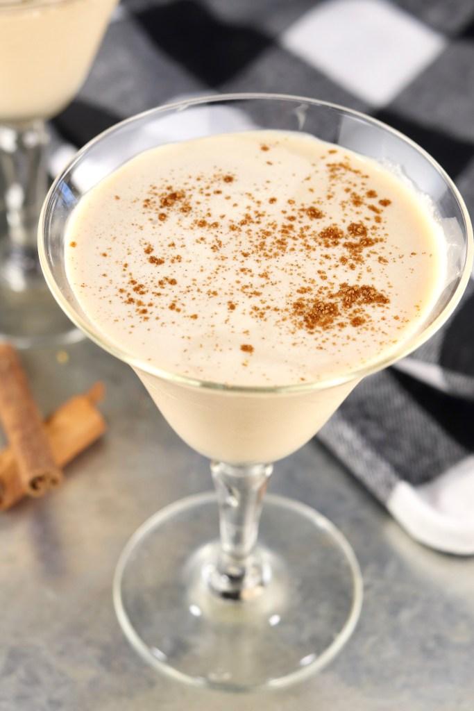 Brandy Alexander cocktail with cinnamon garnish