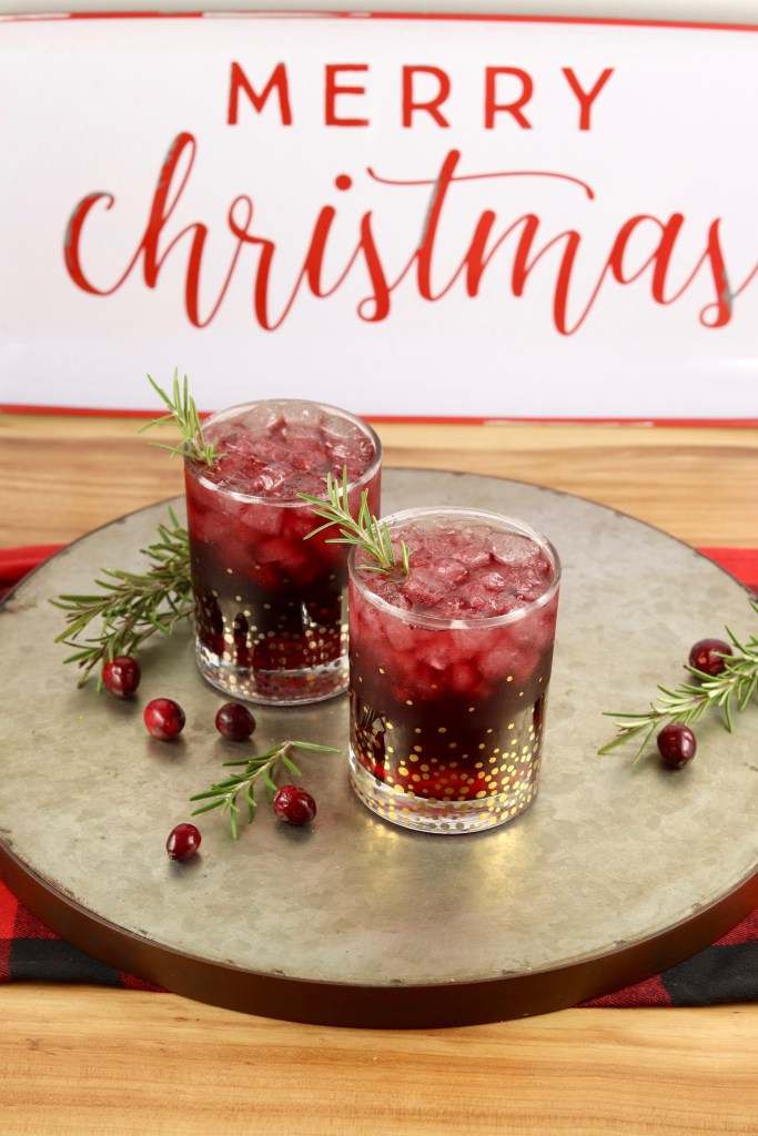 Christmas cocktail with cran apple juice and merlot wine
