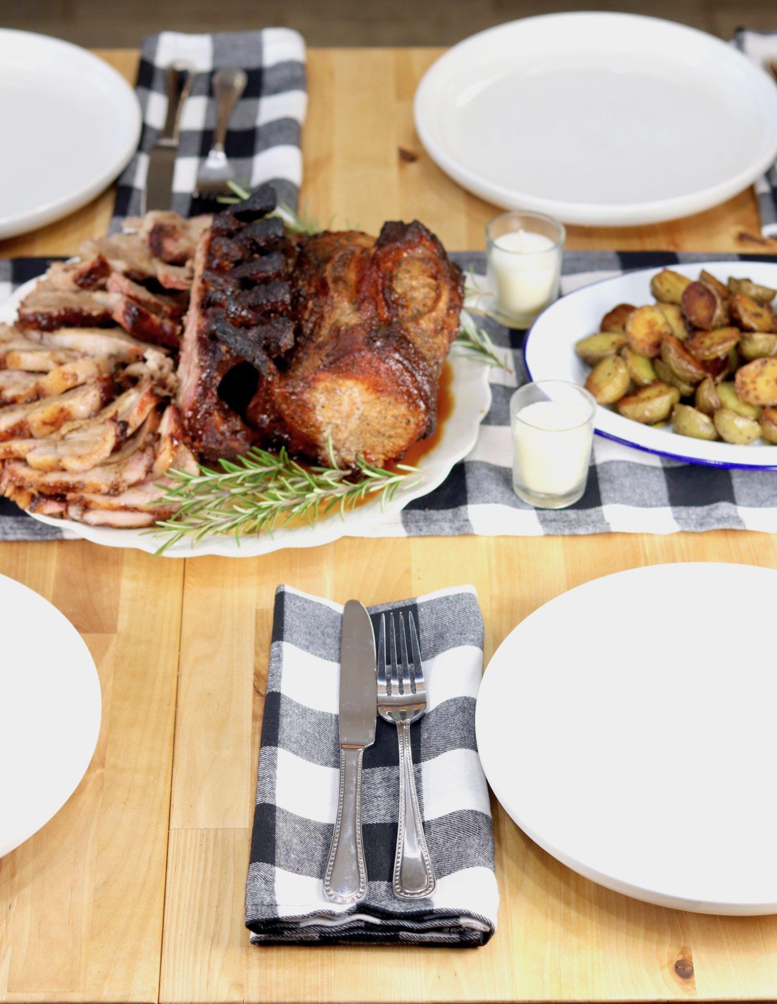 Dinner table with roast pork