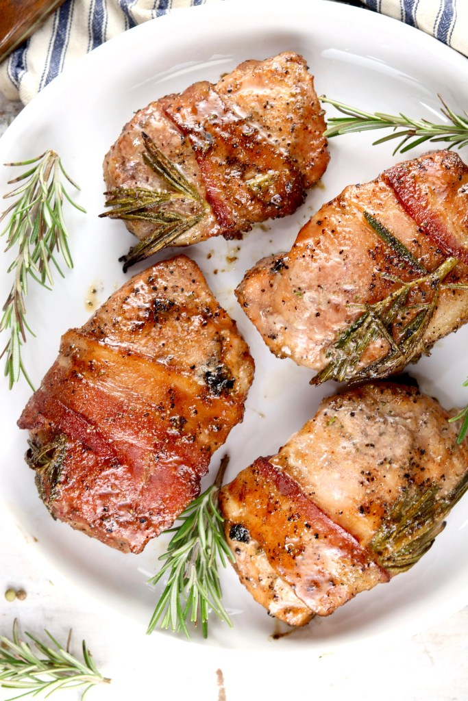 Maple Glazed Pork Chops with bacon and rosemary