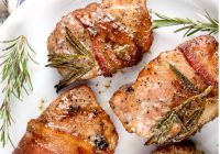 Grilled bacon wrapped pork chops