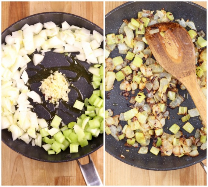 skillet collage with onions, garlic and celery