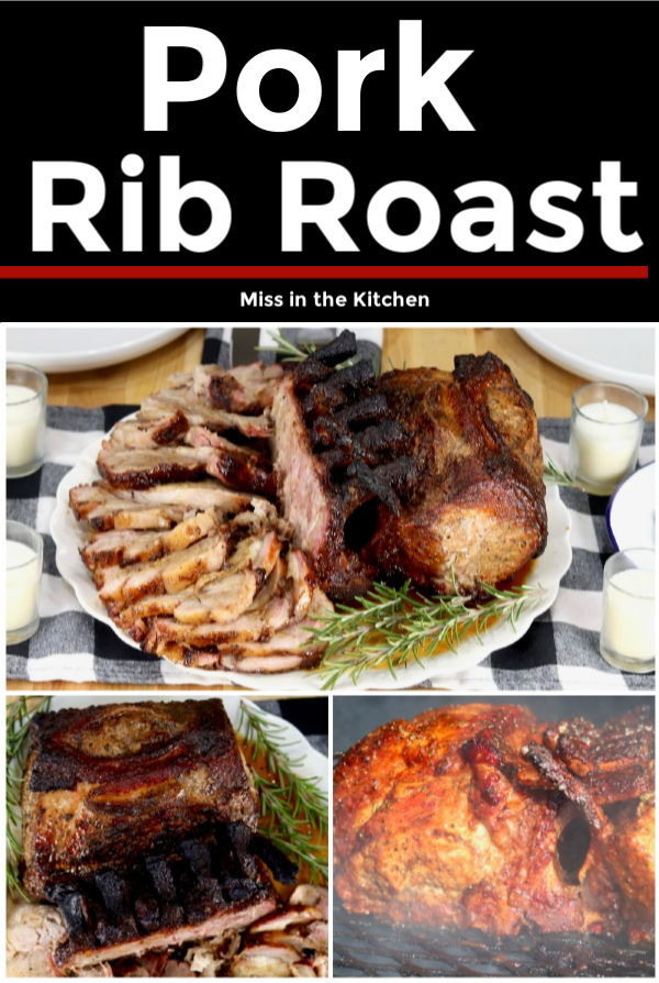 Collage of pork rib roast, plated, sliced and on the grill