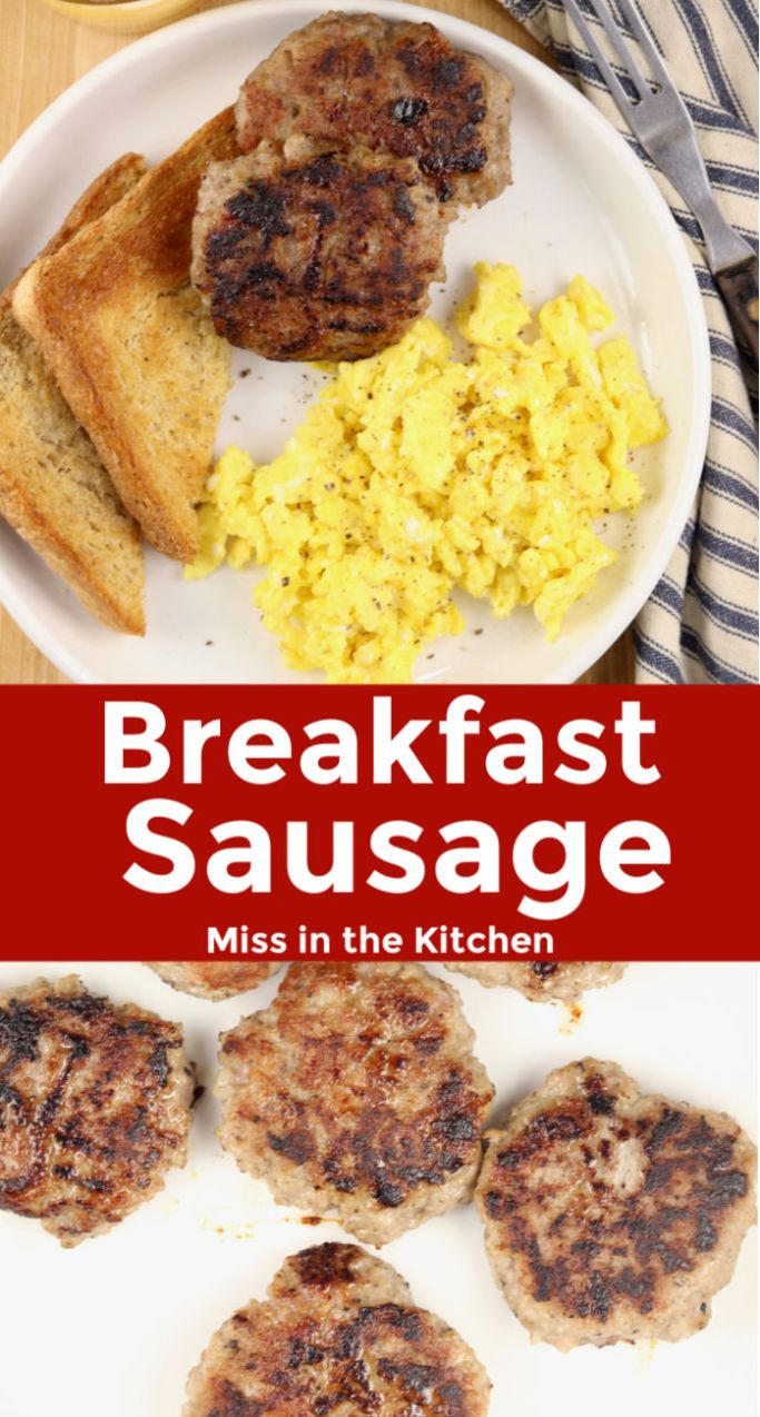 homemade breakfast sausage with eggs and toast - photo collage