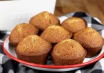 Banana Muffins in a red rimmed bowl