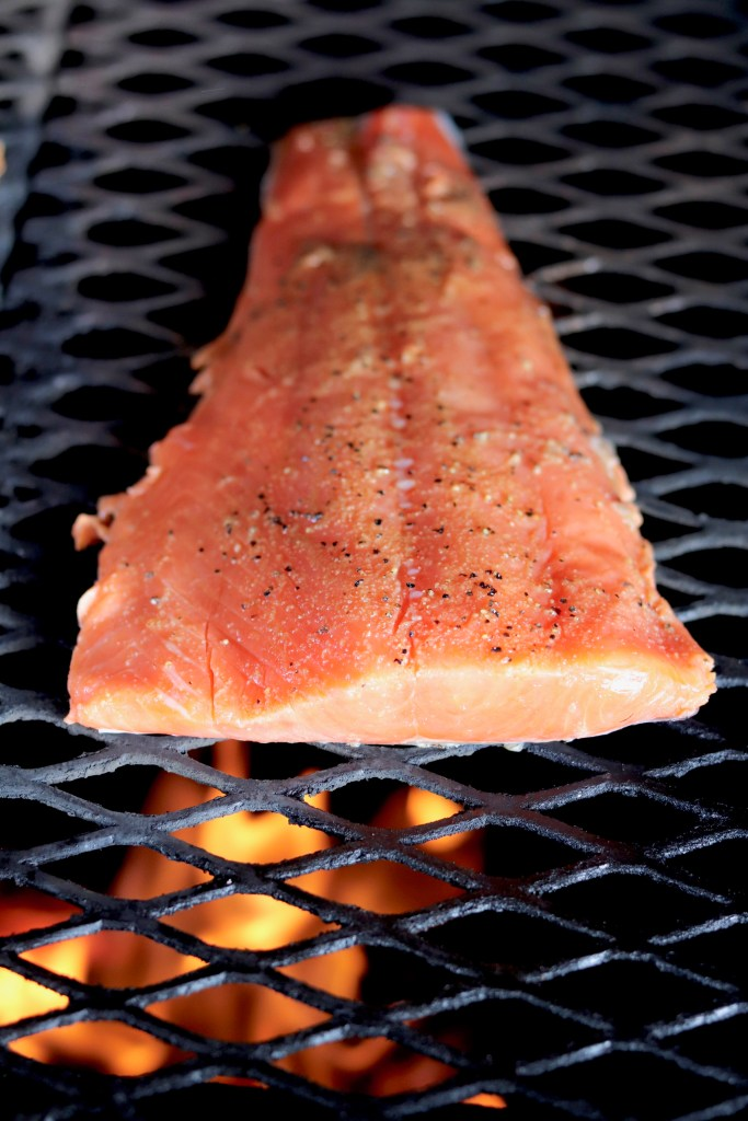 Salmon filet on grill over fire