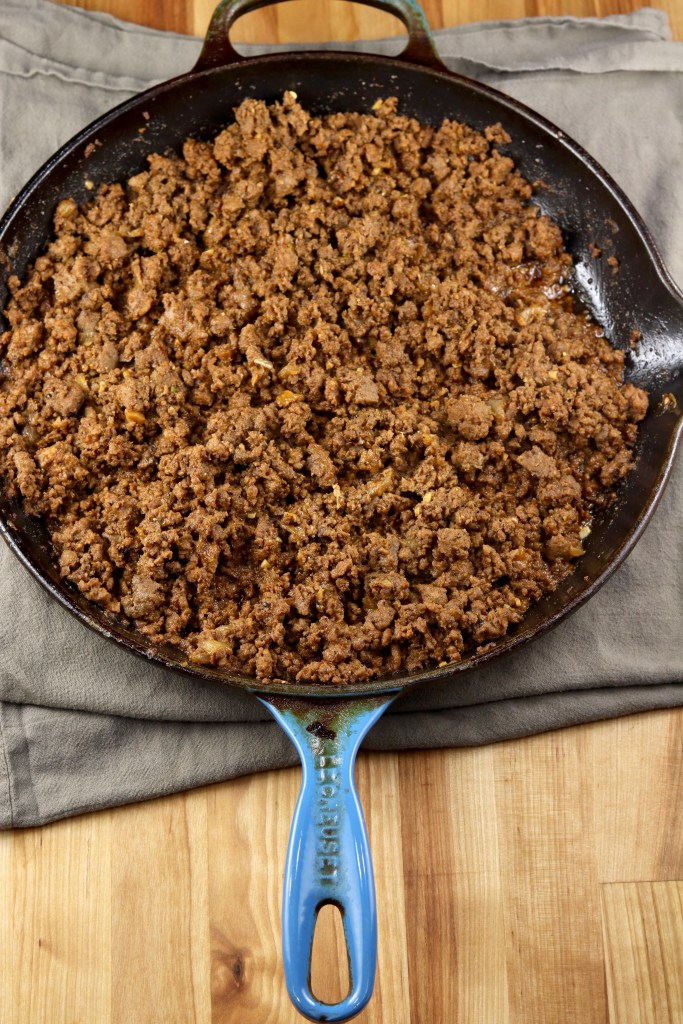 ground beef in a skillet